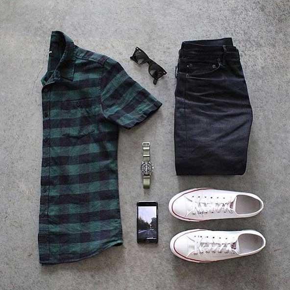 ست لباس شیک مردانه 98 با پیراهن چهارخونه