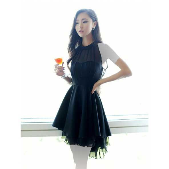 لباس مجلسی یقه گردنی کره ای مدل جدید