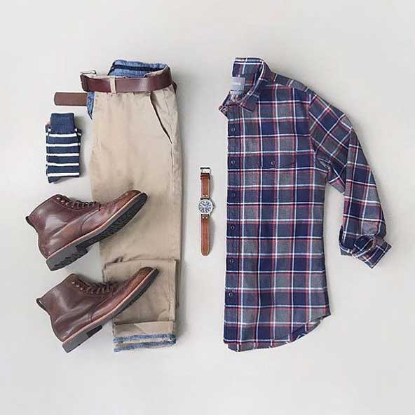 ست لباس جدید مردانه 98 با پیراهن چهارخونه