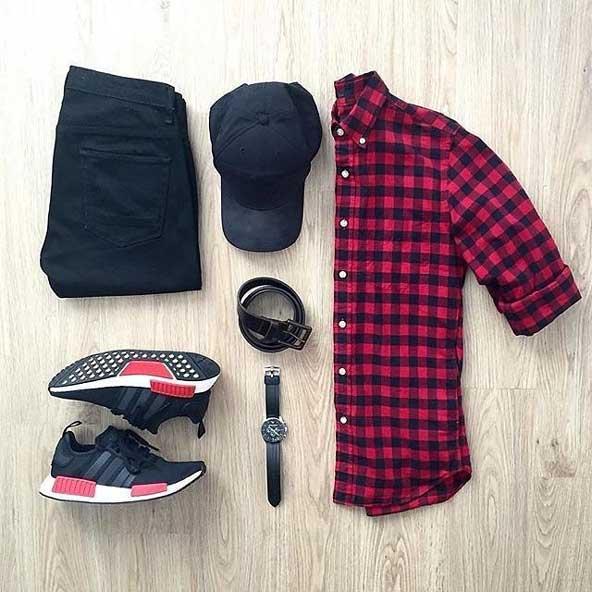 ست لباس فشن مردانه 2019 با ساعت و کلاه