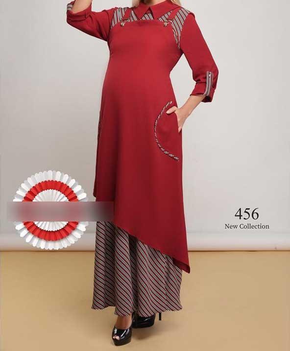 مدل مانتو دامنی 98 مخصوص بارداری با طراحی فانتزی