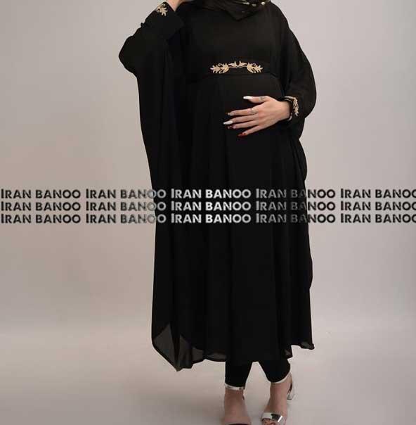 مدل مانتو بارداری مجلسی بسیار شیک مشکی رنگ