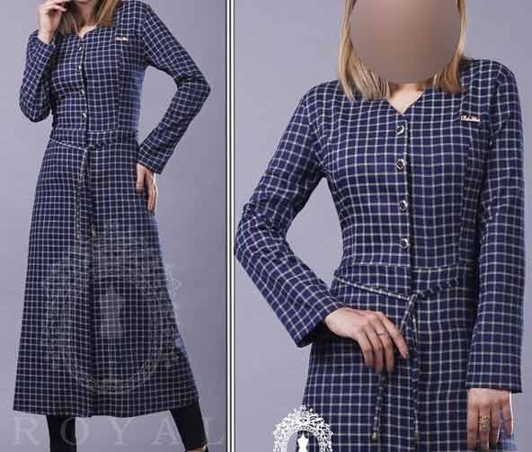 جدیدترین مدل مانتوی بلند با پارچه چهارخونه ریز