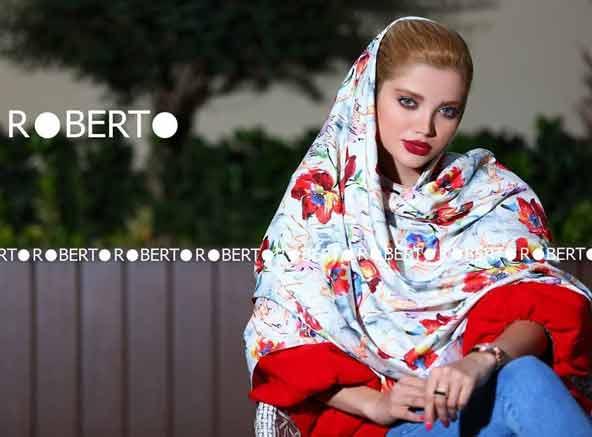 مدل روسری جدید مجلسی نخی 98 با طراحی گلدار