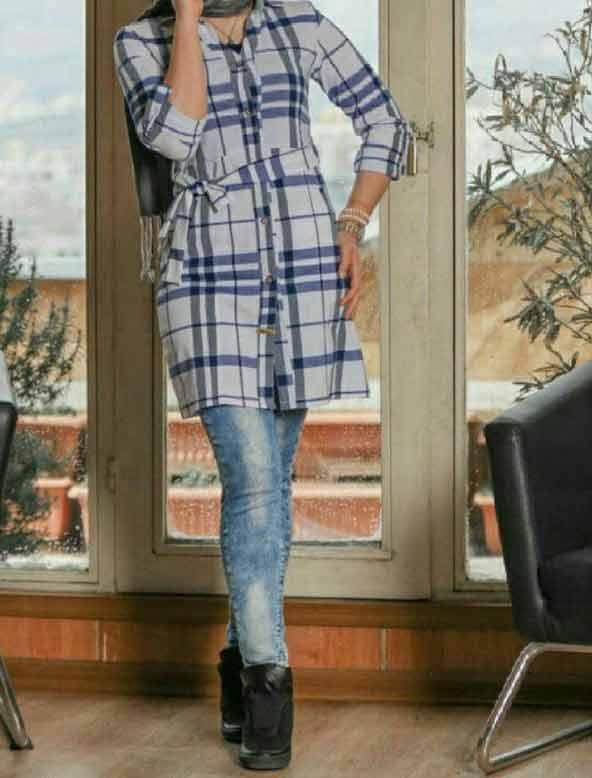 مانتو چهارخونه ای دخترانه سفید آبی مدل اسپرت