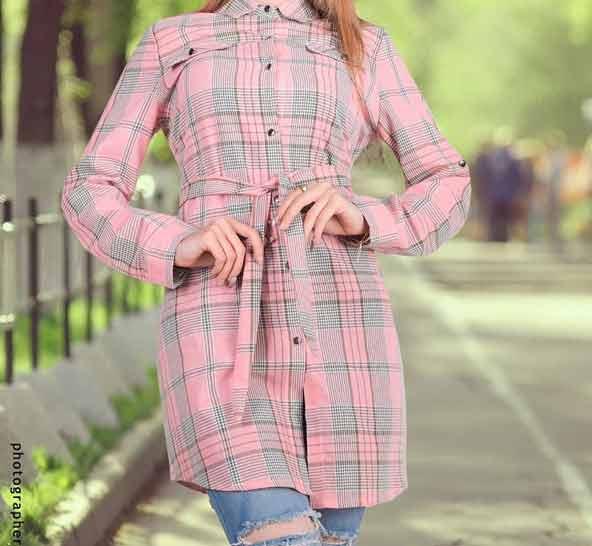 مدل جدید مانتو دخترانه چهارخونه