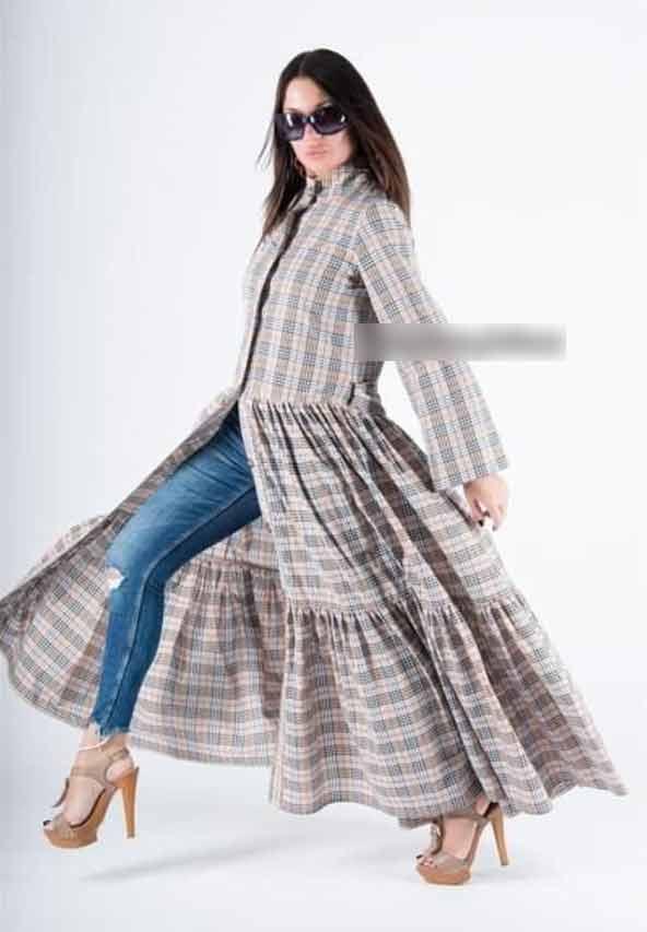 مدل مانتو پیلی دار با طراحی چهارخونه زیبا