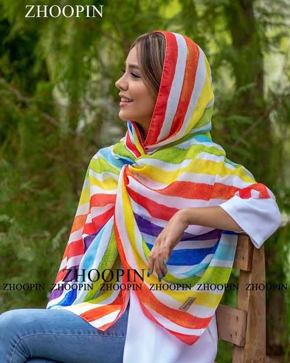 شال راه راه زنانه مدل جدید بسیار با رنگهای شاد