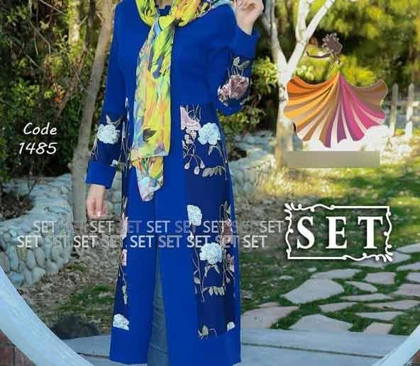 مدل مانتو آبی رنگ 98 با پارچه گلدار