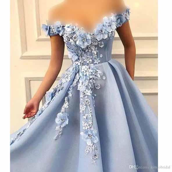 لباس مجلسی یقه گلدار به رنگ آبی روشن