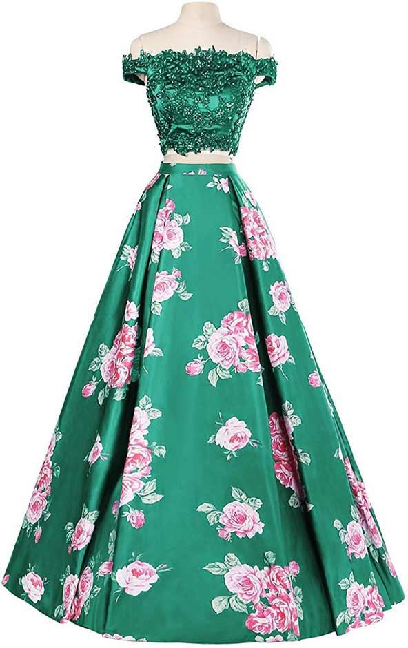 لباس مجلسی دو تیکه گل گلیبالاتنه نگین کاری شده