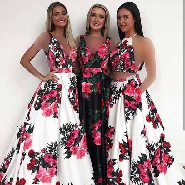انواع لباسهای مجلسی گلدار جدید برای ساقدوش