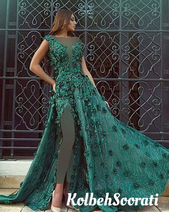 لباس سبز رنگ مجلسی گلدار دامن چاکدار یقه باز