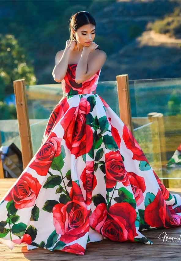 لباس مجلسی با طرح گل درشت بسیار زیبا