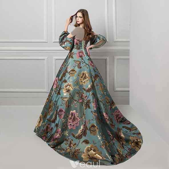 لباس پرنسسی گلدار مجلسی جدید ۱۴۰۰