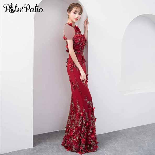 لباس مجلسی قرمز رنگ با گلهای برجسته