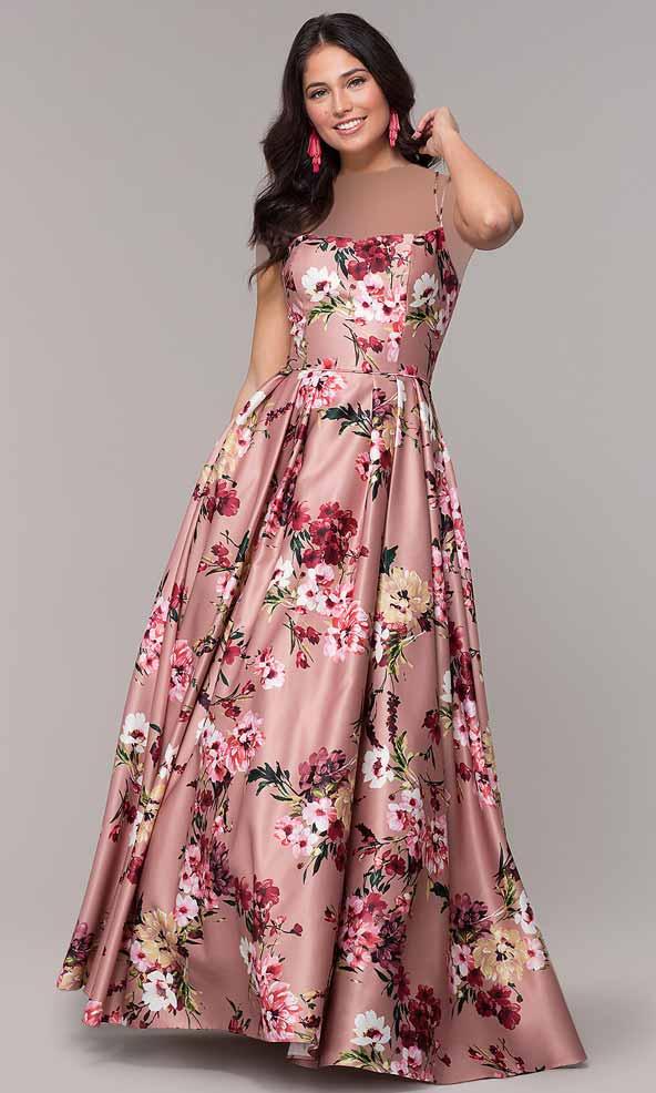 لباس مجلسی ساتن بلند با طرح گلهای زیبا