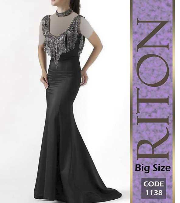 مدل لباس مجلسی بلند ۹۹ یقه ریش ریش