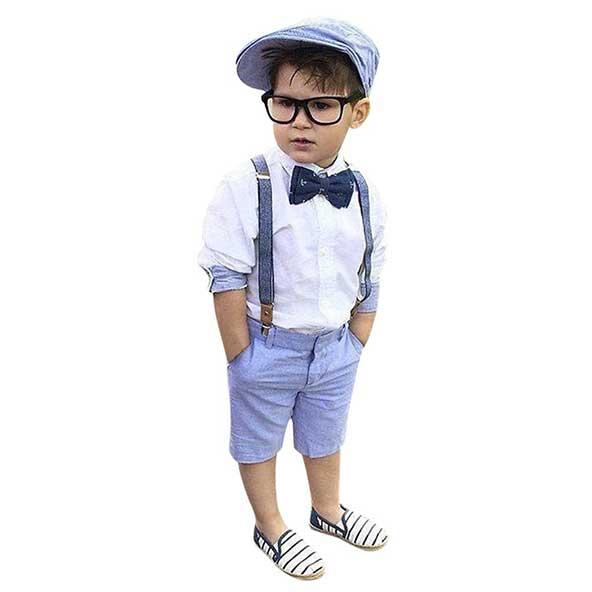 ست فوق العاده شیک لباس کودک پسرانه ۲۰۲۰ همراه با ساسپند، عینک، کلاه و پاپیون