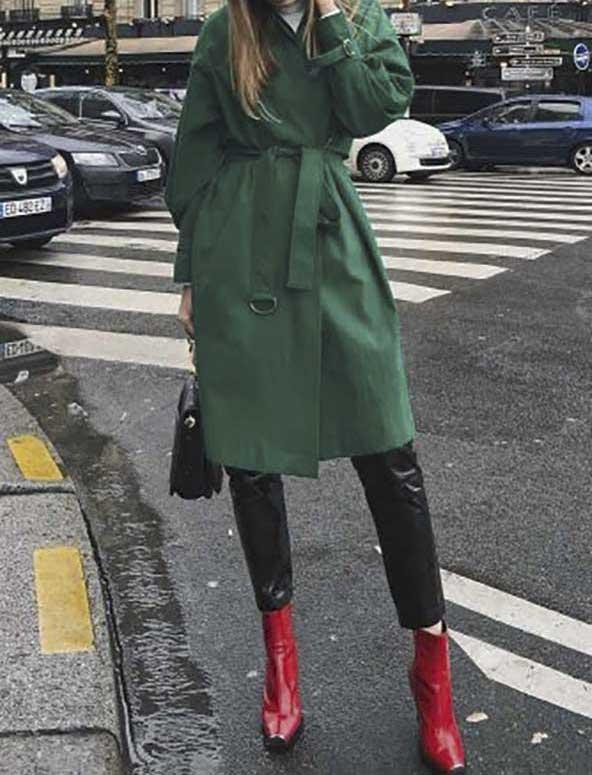 ست مانتو یلدایی جدید سبز رنگ با بوت قرمز