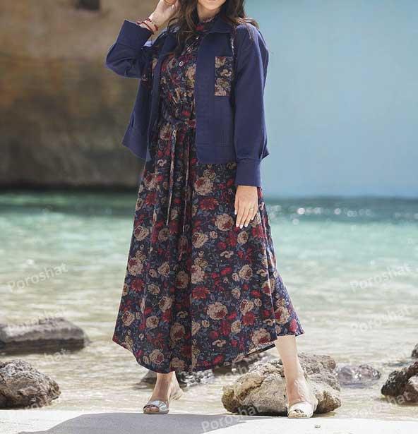 مدل کت سارافون طرح گلدار ساحلی