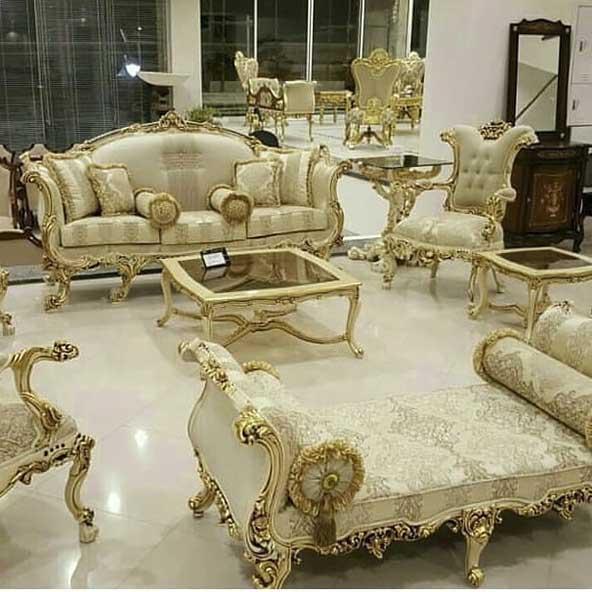 مبل سلطنتی طلایی رنگ فوق العاده شیک