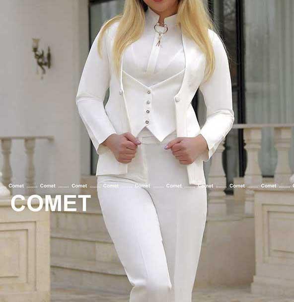 مدل تمام مجلسی کت شلوار و جلیقه جدید سفید رنگ زنانه برای مراسم و مهمانیها