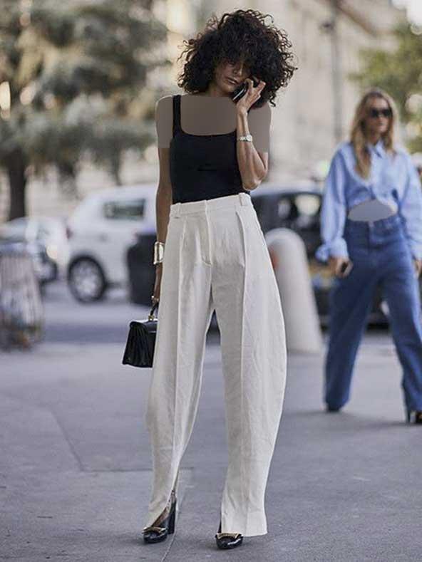 شلوار مدل سندبادی سفید رنگ برای خانم های قد بلند