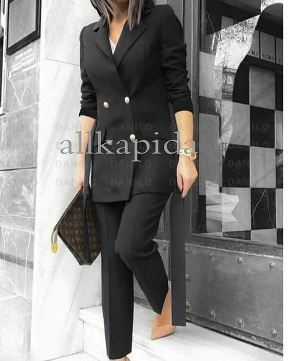 مدل کت بلند مجلسی زنانه ۲۰۲۰ با شلوار مشکی