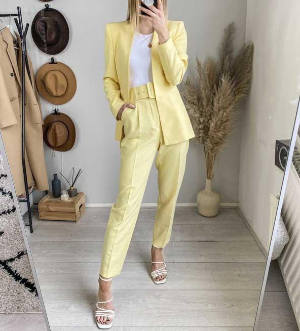 کت زنانه خوش استایل به همراه شلوار پیله ای کمربند دار