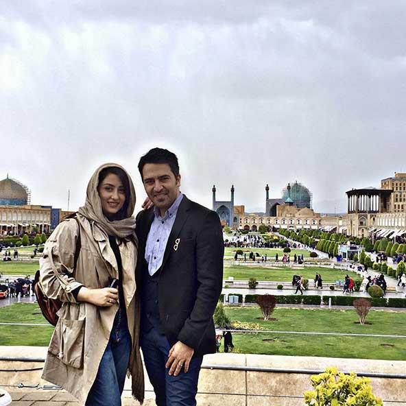 الهام طهموری و همسرش در کنار هم