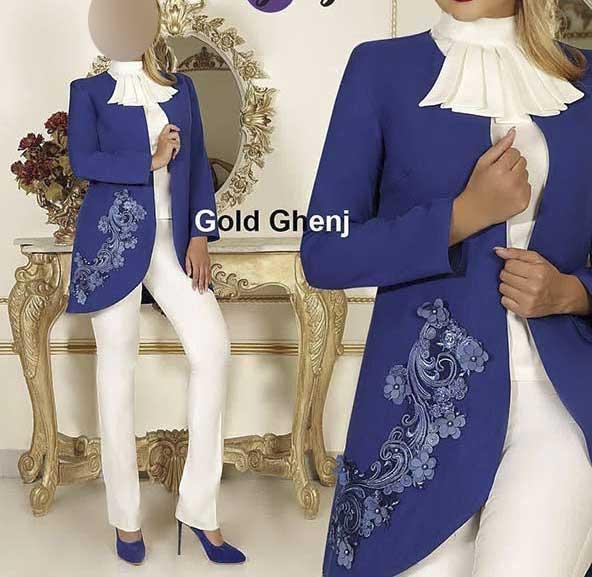 مدل کت جلوباز مجلسی زنانه گل دوزی شده همراه با شلوار و شومیز سفید