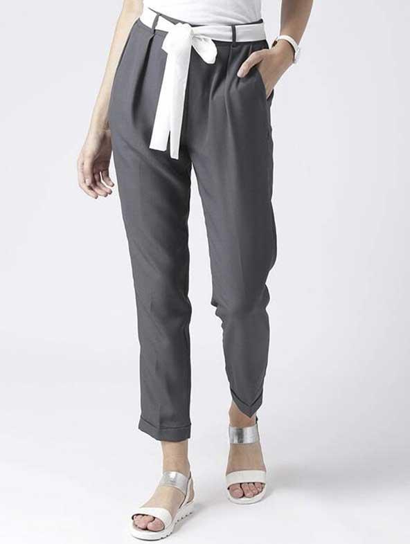 شلوار پارچه ای زنانه مدل کمربند پاپیونی سفید مشکی مدل ۲۰۲۰