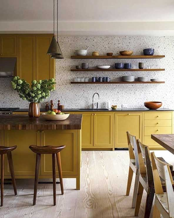 مدل کابینت جدید خیلی شیک با رنگ زرد خاص برای خانه های لوکس