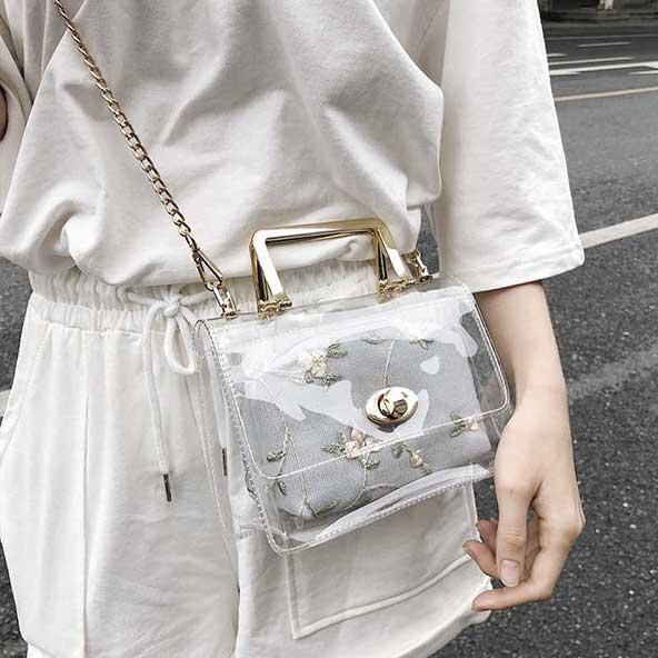 کیف طرح شیشه ای گردن آویز خیلی خوشگل زنونه