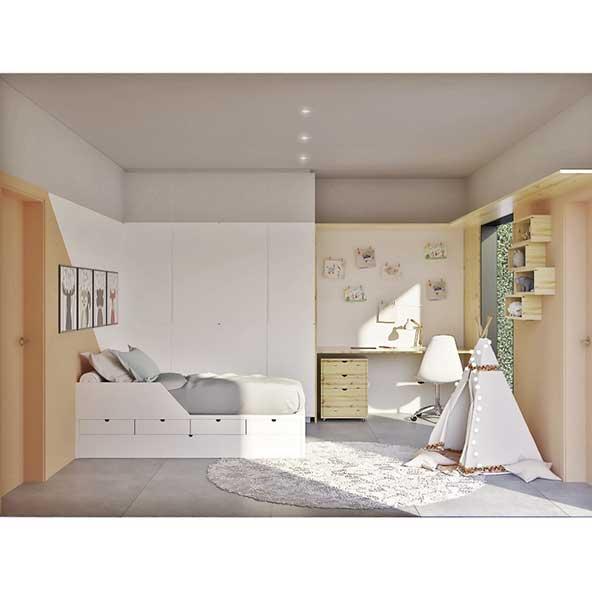 تزیینات اتاق کودکان با شلف های دیواری مکعبی شیک و فرش گرد و چادر کودکانه
