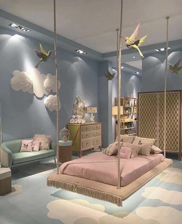اتاق خواب کودک فانتزی با طرح خوشگل بچه گانه