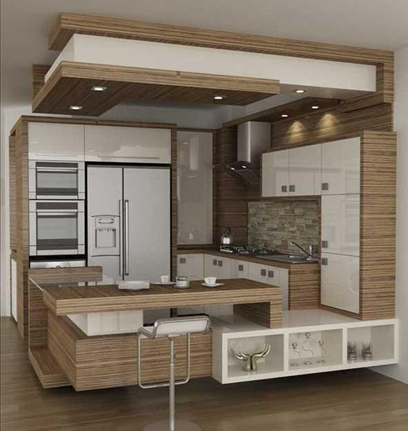 کابینت مدرن برای آشپزخانه ایرانی با ترکیب رنگ سفید و طرح چوب