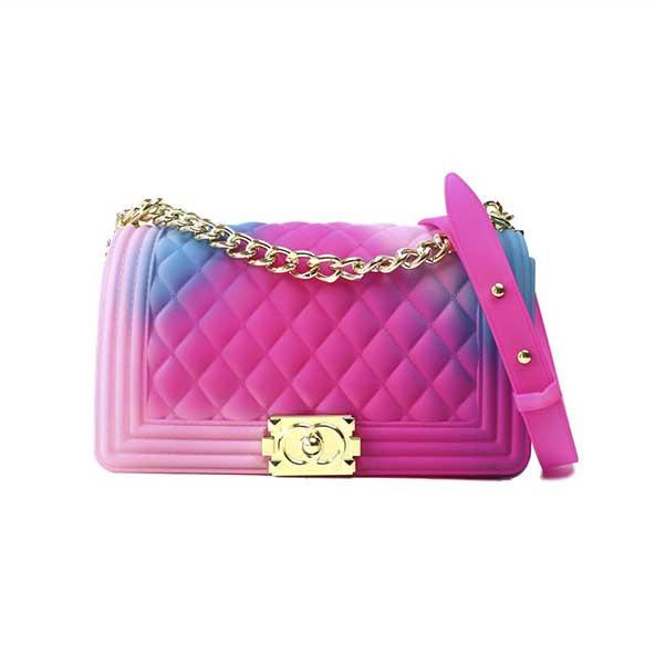 کیف دستی مدل رنگین کمانی زنانه با بند فلزی