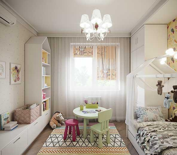 ایده بسیار جالب برای اتاق خواب کودک با فرش نمدی و میز و صندلی