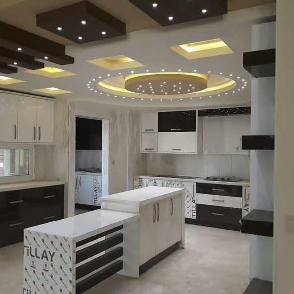 کابینت آشپزخانه های گلاس سفید مشکی با طراحی بسیار زیبا