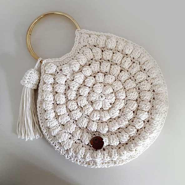 کیف مکرومه بافی سفید رنگ 99 جمع و جور