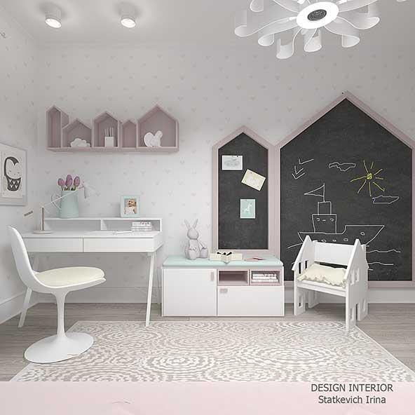 چیدمان فوق العاده اتاق کودک پر انرژی با شلف های زیبای صورتی رنگ