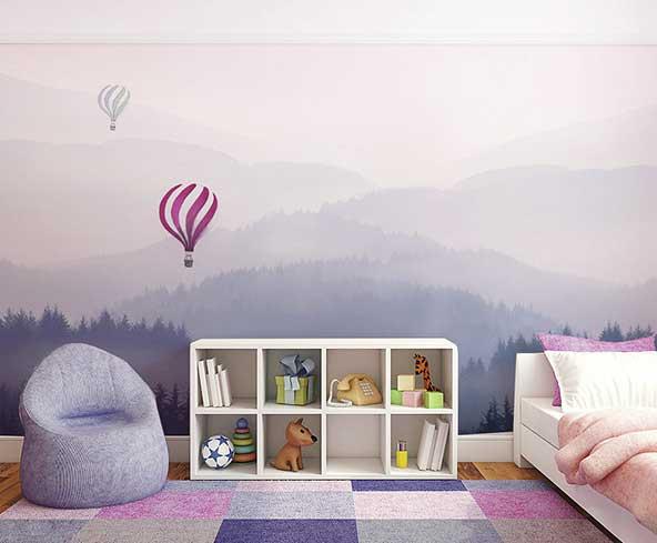 طرح بسیار جذاب اتاق کودک در اینستاگرام با نقاشی طبیعت بر روی دیوار