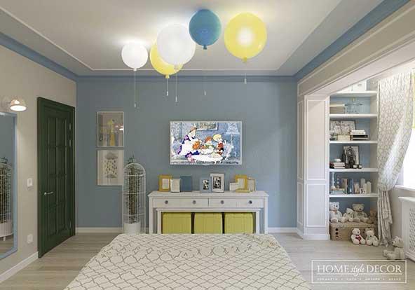 اتاق طراحی شده برای کودکان با آویز های بادکنکی رنگارنگ