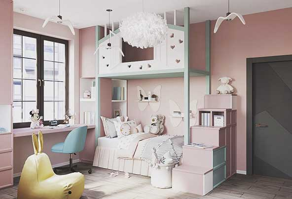 اتاق خواب کودکانه مدرن با رنگ آمیزی بسیار شاد
