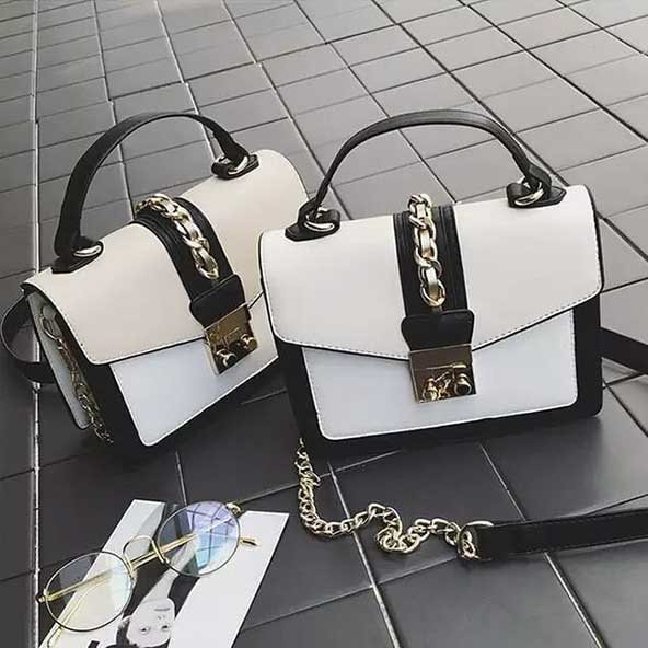کیف جدید خارجی سفید مشکی 2020 برای خانمهای شیک پسند