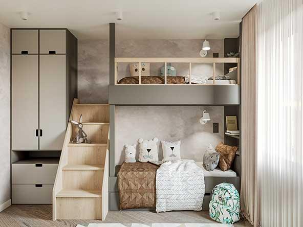 ایده جذاب اتاق خواب دو نفره کودک برای فضاهای کم