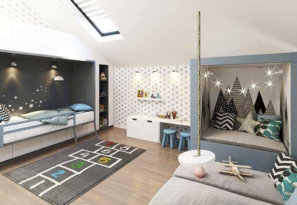 مدل تزیینات اتاق خواب کودک دخترانه با کوسن های زیبا و فرش طرح بازی لی لی