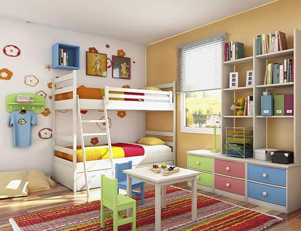 دیزاین اتاق کوچک با تخت طبقاتی و وسایل نمدی زیبا و فرش اسپرت برای کودکان